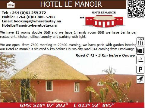 Hotel Pension Le Manior Namibia